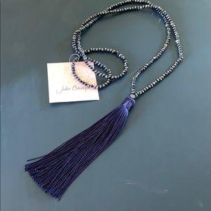 New Navy Blue Shiny Boutique Tassel Necklace